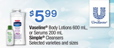 Vaseline Body Lotions - 600 Ml - Or Serums - 200 Ml Simple Cleansers
