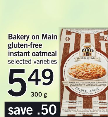 Bakery On Main Gluten-free Instant Oatmeal - 300 g