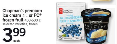 Chapman's Premium Ice Cream - 2 L Or PC Frozen Fruit - 400-600 G