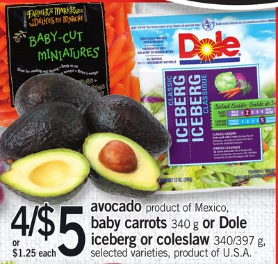 Avocado - Baby Carrots - 340 g Or Dole Iceberg Or Coleslaw - 340/397 g