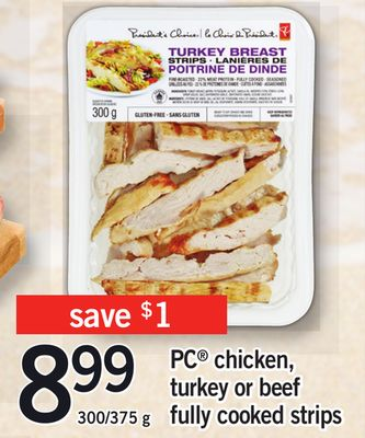 PC Chicken - Turkey Or Beef Fully Cooked Strips