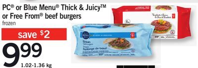 PC Or Blue Menu Thick & Juicy Or Free From Beef Burgers - 1.02-1.36 Kg