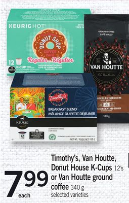 Timothy's - Van Houtte - Donut House K-cups 12's Or Van Houtte Ground Coffee 340 G