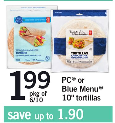 PC Or Blue Menu 10'' Tortillas - Pkg of 6/10