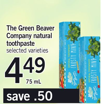 The Green Beaver Company Natural Toothpaste - 75 Ml