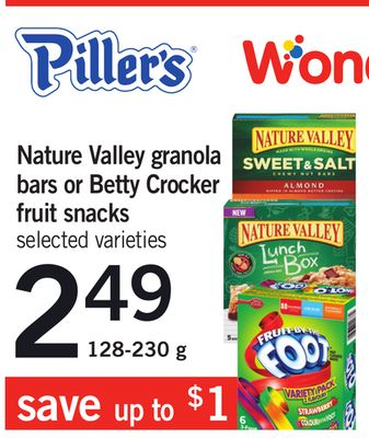Nature Valley Granola Bars Or Betty Crocker Fruit Snacks - 128-230 g