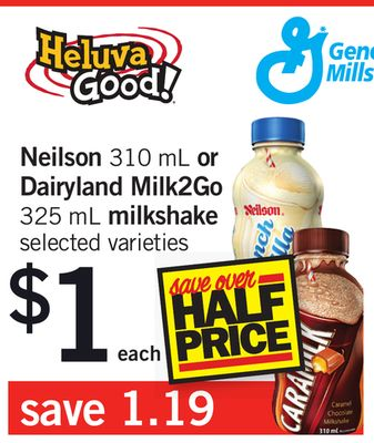 Neilson 310 Ml Or Dairyland Milk2go 325 Ml Milkshake