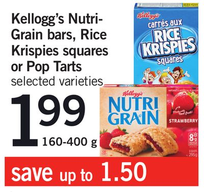 Kellogg's Nutri-grain Bars - Rice Krispies Squares Or Pop Tarts - 160-400 g