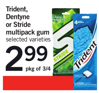 Trident - Dentyne Or Stride Multipack GUM - Pkg of 3/4