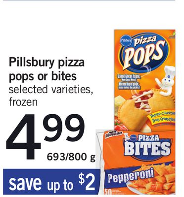 Pillsbury Pizza Pops Or Bites - 693/800 g