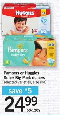 Pampers Or Huggies Super Big Pack Diapers - 50-120's