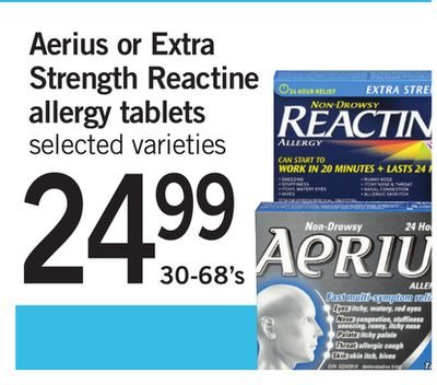 Aerius Or Extra Strength Reactine Allergy Tablets