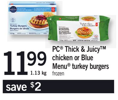 PC Thick & Juicy Chicken Or Blue Menu Turkey Burgers - 1.13 Kg