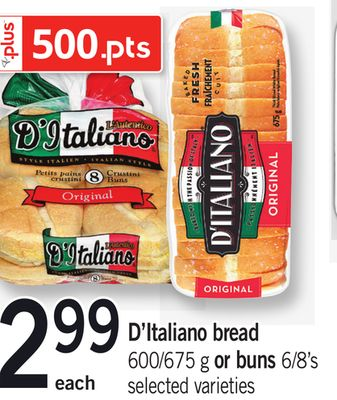 D'italiano Bread 600/675 G Or Buns 6/8's