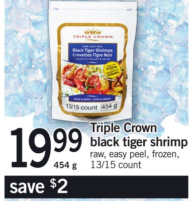Triple Crown Black Tiger Shrimp - 454 g - 13/15 Count