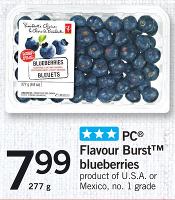 PC Flavour Burst Blueberries - 277 g