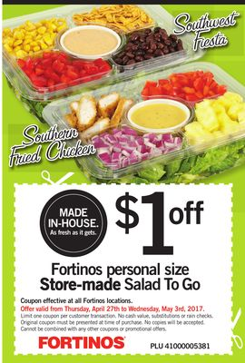 Fortinos Personal Size Store-made Salad To Go