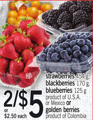Strawberries 454 G - Blackberries 170 G - Blueberries 125 G Or Golden Berries