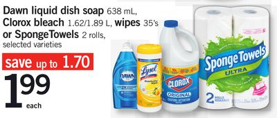 Dawn Liquid Dish Soap - 638 mL - Clorox Bleach - 1.62/1.89 L - Wipes - 35's - or Spongetowels - 2 Rolls