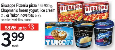 Giuseppe Pizzeria Pizza - 465-900 G - Chapman's Frozen Yogurt - Ice Cream 2 L Or Yukon Novelties - 5-8's