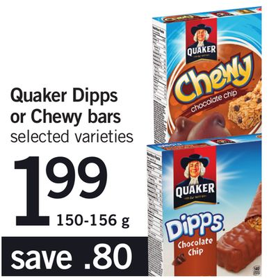 Quaker Dipps Or Chewy Bars - 150-156 g