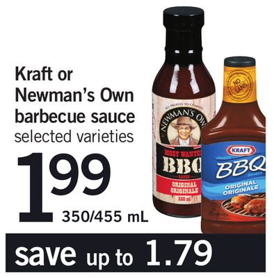 Kraft Or Newman's Own Barbecue Sauce - 350/455 mL