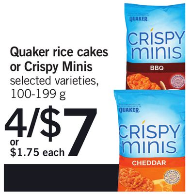 Quaker Rice Cakes Or Crispy Minis - 100-199 g
