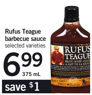 Rufus Teague Barbecue Sauce - 375 mL