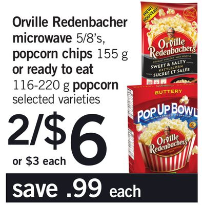 Orville Redenbacher Microwave 5/8's - Popcorn Chips 155 G Or Ready To Eat 116-220 G Popcorn