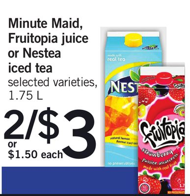 Minute Maid - Fruitopia Juice Or Nestea Iced Tea - 1.75 L