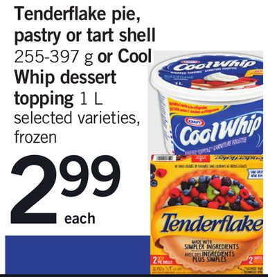 Tenderflake Pie - Pastry Or Tart Shell 255-397 G Or Cool Whip Dessert Topping 1 L