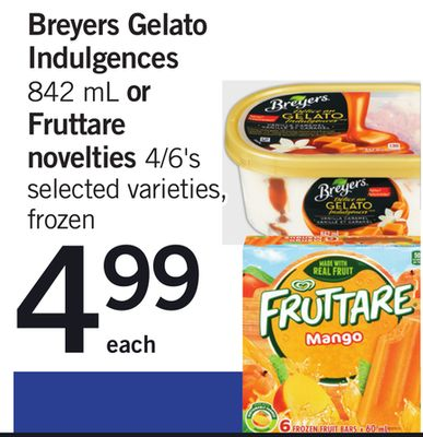 Breyers Gelato Indulgences - 842 Ml Or Fruttare Novelties - 4/6's