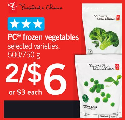 PC Frozen Vegetables - 500/750 g