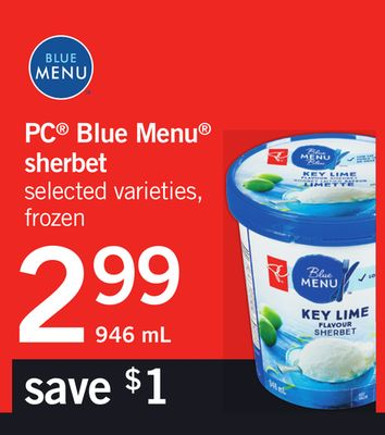 PC Blue Menu Sherbet - 946 mL