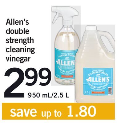 Allen's Double Strength Cleaning Vinegar - 950 Ml/2.5 L