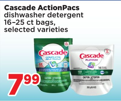 Cascade Actionpacs Dishwasher - Detergent 16–25 Ct Bags