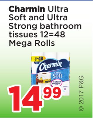 Charmin Ultra Soft And Ultra Strong Bathroom Tissues 12=48 Mega Rolls