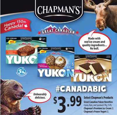 Great Canadian Yukon Novelties Cones - Bars - And Sandwich Pkg 5-8's. Chapman's Premium Ice Cream 2l Chapman's Frozen Yogurt 2l