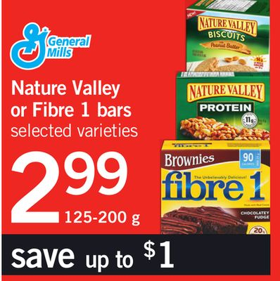 Nature Valley Or Fibre 1 Bars - 125-200 g