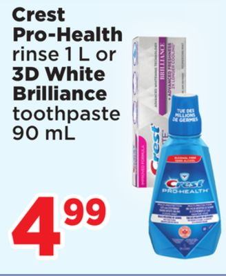 Crest Pro-health Rinse 1 L Or 3D White Brilliance Toothpaste 90 mL