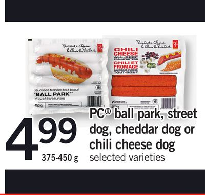 PC Ball Park - Street Dog - Cheddar Dog Or Chili Cheese Dog - 375-450 g