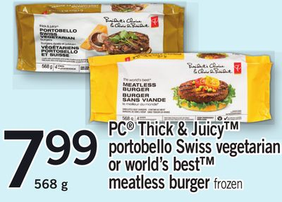 PC Thick & Juicy Portobello Swiss Vegetarian Or World's Best Meatless Burger - 568 g