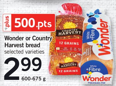 Wonder Or Country Harvest Bread - 600-675 g