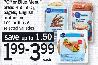 PC Or Blue Menu Bread - 450/500 g - Bagels - English Muffins or 10'' Tortillas - 6's