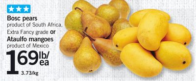 Bosc Pears Or Ataulfo Mangoes
