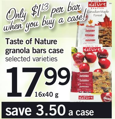 Taste Of Nature Granola Bars Case - 16x40 g