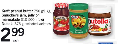 Kraft Peanut Butter - 750 G/1 Kg - Smucker's Jam - Jelly Or Marmalade - 310-500 Ml Or Nutella - 375 G