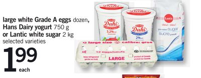 Large White Grade A Eggs - Dozen - Hans Dairy Yogurt - 750 G Or Lantic White Sugar - 2 Kg