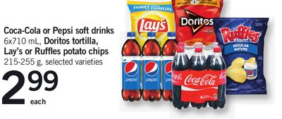 Coca-cola Or Pepsi Soft Drinks - 6x710 Ml - Doritos Tortilla - Lay's Or Ruffles Potato Chips - 215-255 G