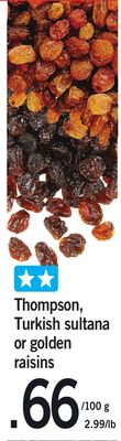 Thompson - Turkish Sultana Or Golden Raisins
